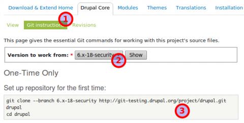 Drupal letöltése a Git verziókezelő használatával.