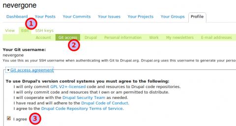 Felhasználói profil módosítása a drupal.org-on.
