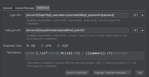 Bejelentkezéshez és RSS feldolgozásához paraméterek